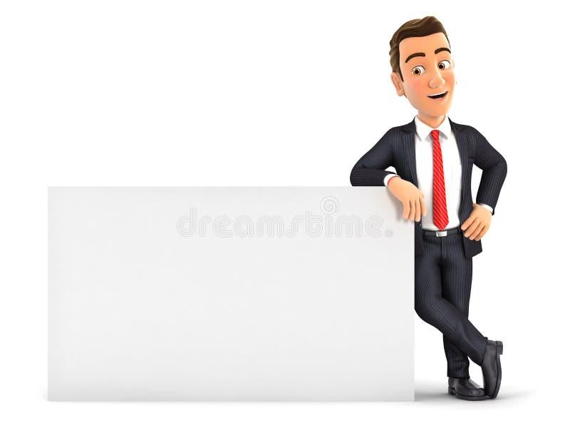 homme d'affaires 3d se penchant contre le mur blanc illustration stock