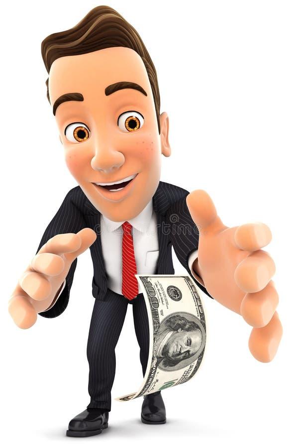 homme d'affaires 3d se pliant vers le bas pour prendre le billet d'un dollar illustration stock