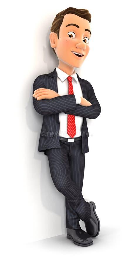 homme d'affaires 3d se tenant contre le mur illustration de vecteur
