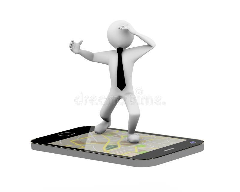 homme d'affaires 3d sur le mobile de carte de généralistes illustration stock