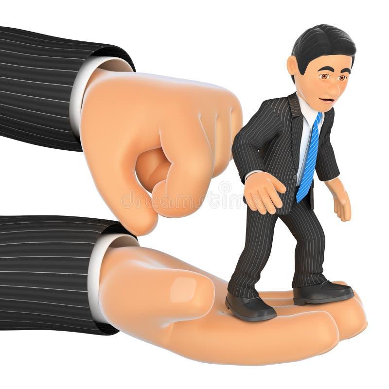homme d'affaires 3D sur une main géante allumé image libre de droits