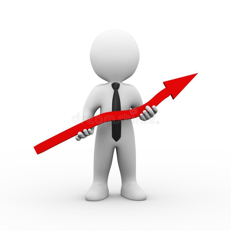 homme d'affaires 3d tenant la flèche illustration libre de droits