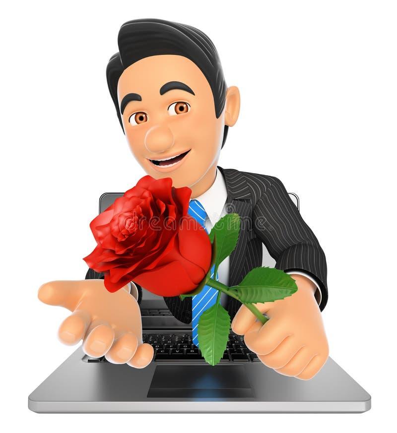 homme d'affaires 3D venant un écran d'ordinateur portable avec une rose rouge illustration de vecteur