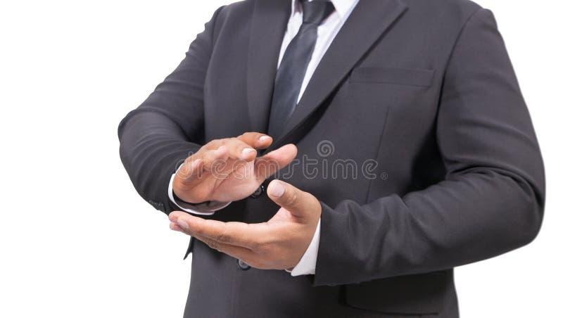 Homme d'affaires dans des mains de applaudissement d'un costume photo libre de droits