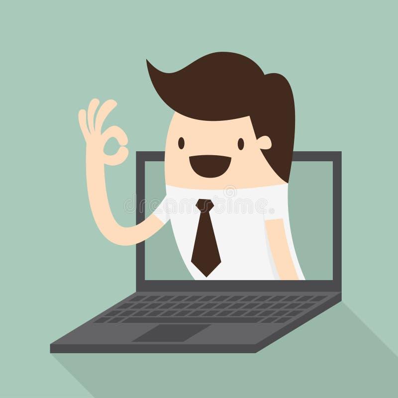 Homme d'affaires dans l'écran d'ordinateur portable illustration libre de droits