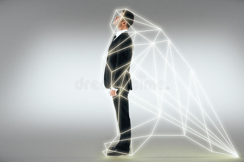 Homme d'affaires dans l'interface virtuelle photo stock
