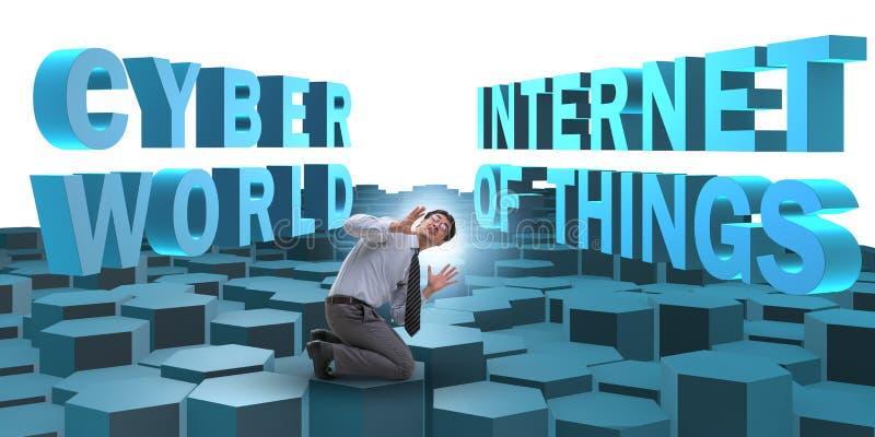 Homme d'affaires dans l'Internet du concept de choses image libre de droits