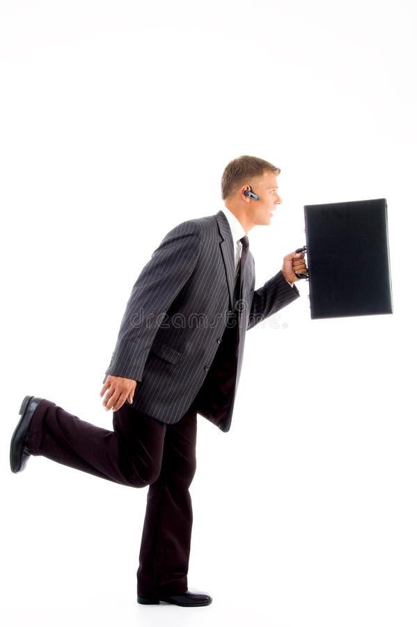 Homme D Affaires Dans La Hâte Avec La Serviette Image stock