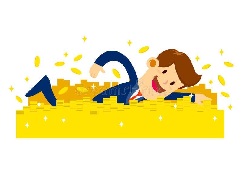 Homme d'affaires dans la natation de costume dans des pièces d'or illustration stock