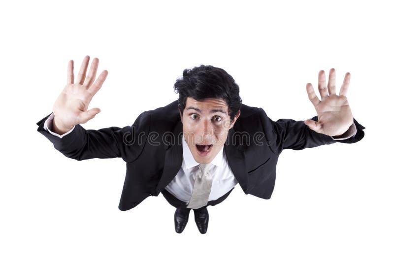 Homme d'affaires dans la panique photo stock