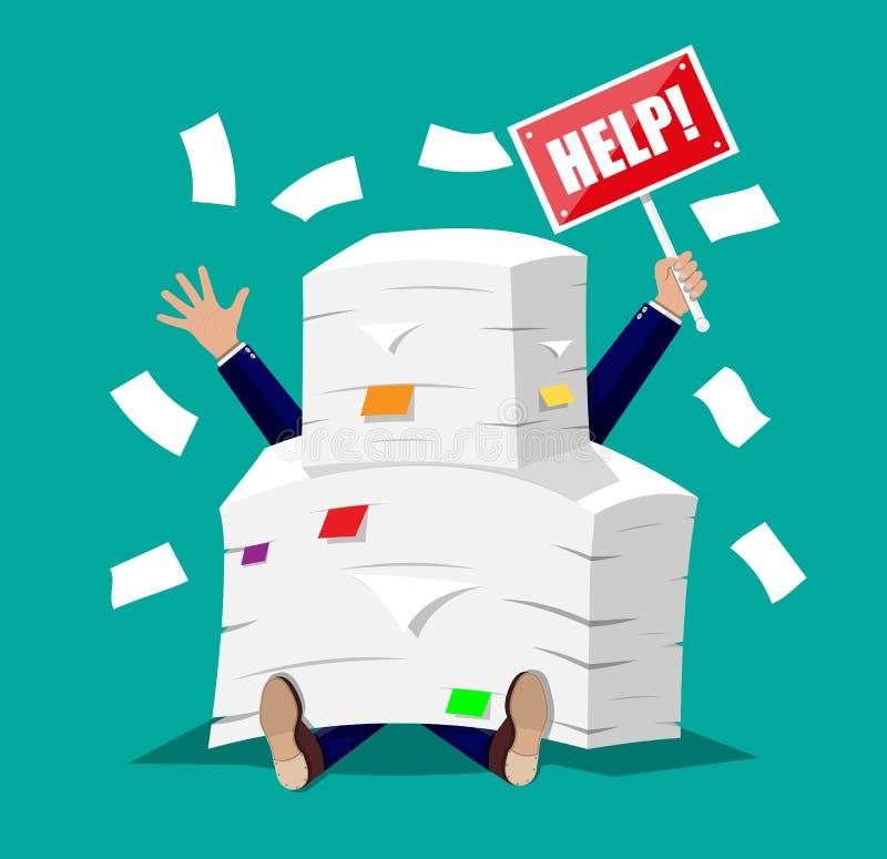 Homme d'affaires dans la pile des papiers de bureau illustration stock