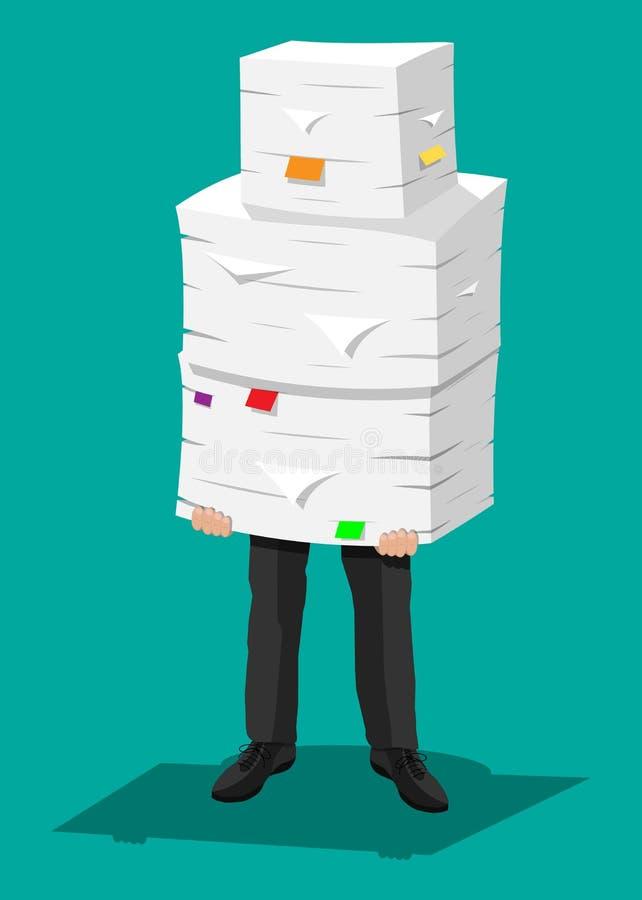 Homme d'affaires dans la pile des papiers de bureau illustration libre de droits