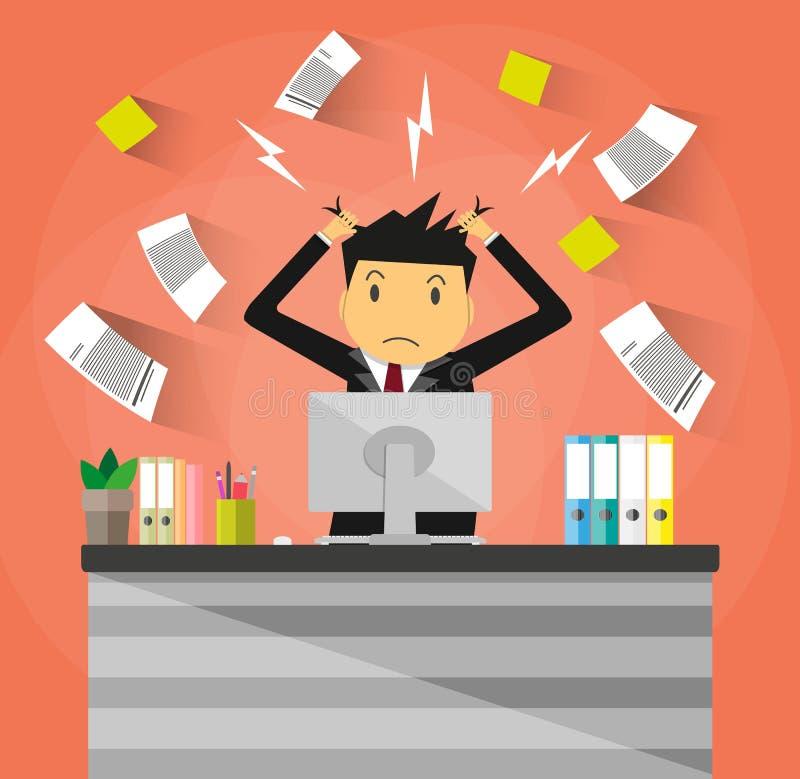 Homme d'affaires dans la pile des papiers de bureau illustration de vecteur