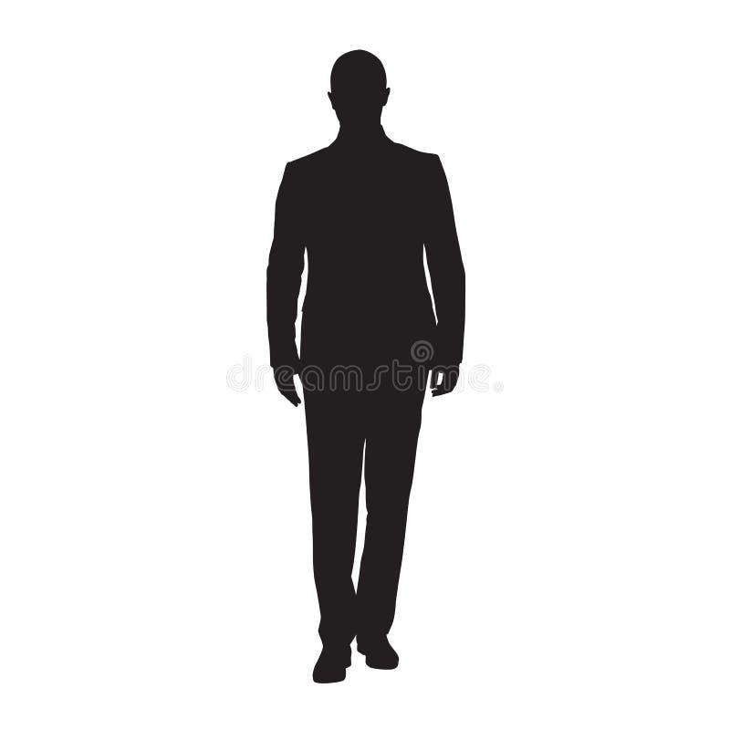 Homme d'affaires dans la position de costume, silhouette d'isolement de vecteur Front View illustration de vecteur
