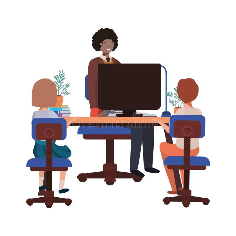Homme d'affaires dans le bureau avec le caractère d'avatar d'enfants illustration stock