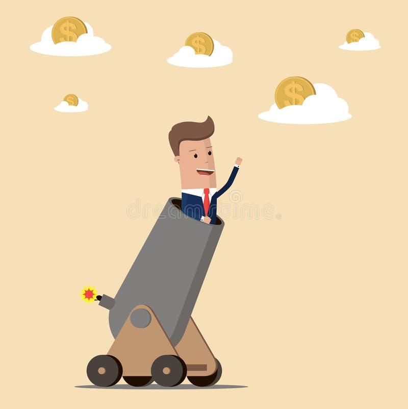 Homme d'affaires dans le canon prêt à se tirer à la cible Concept d'affaires et de finances Illustration de vecteur illustration libre de droits