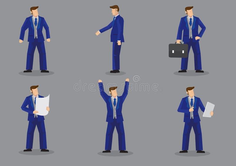 Homme d'affaires dans le caractère Ilustratio de vecteur de costume de morceau de trois de bleu illustration de vecteur