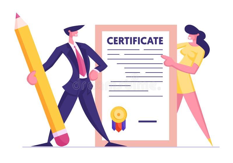 Homme d'affaires dans le costume avec le crayon énorme et la jeune femme tenant le certificat d'assurance avec le timbre de joint illustration libre de droits