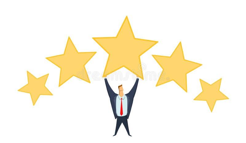Homme d'affaires dans le costume de bureau tenant la grande étoile au-dessus de sa tête Atteindre des buts Estimation de succès b illustration de vecteur