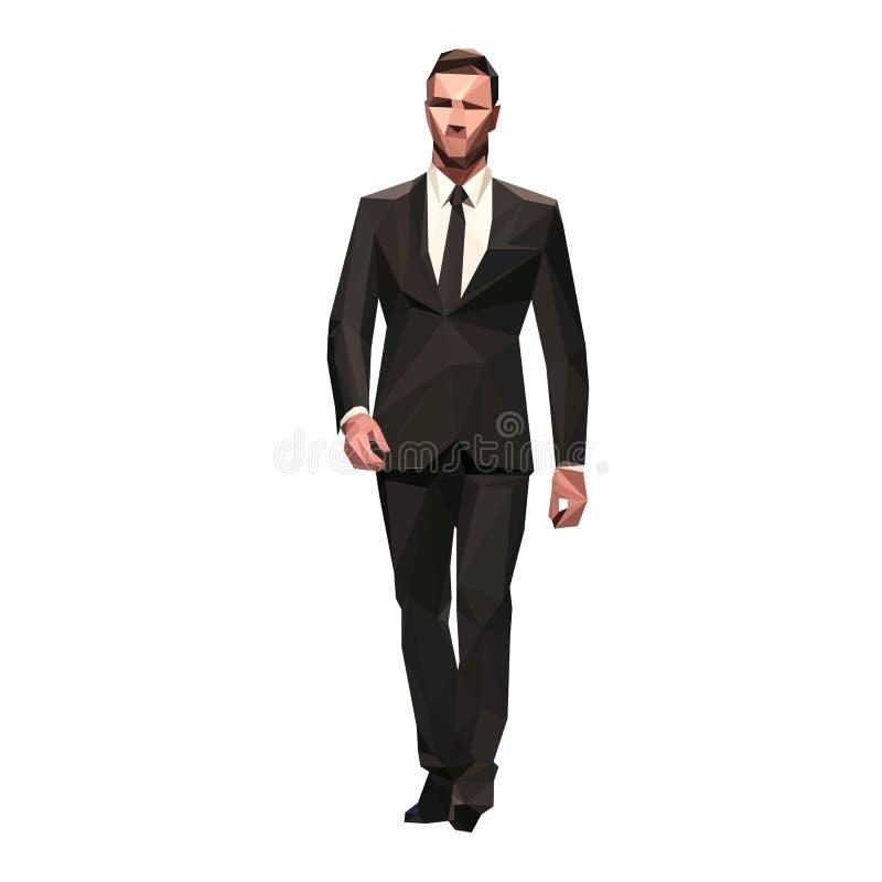 Homme d'affaires dans le costume foncé marchant en avant, polygonal d'isolement illustration stock
