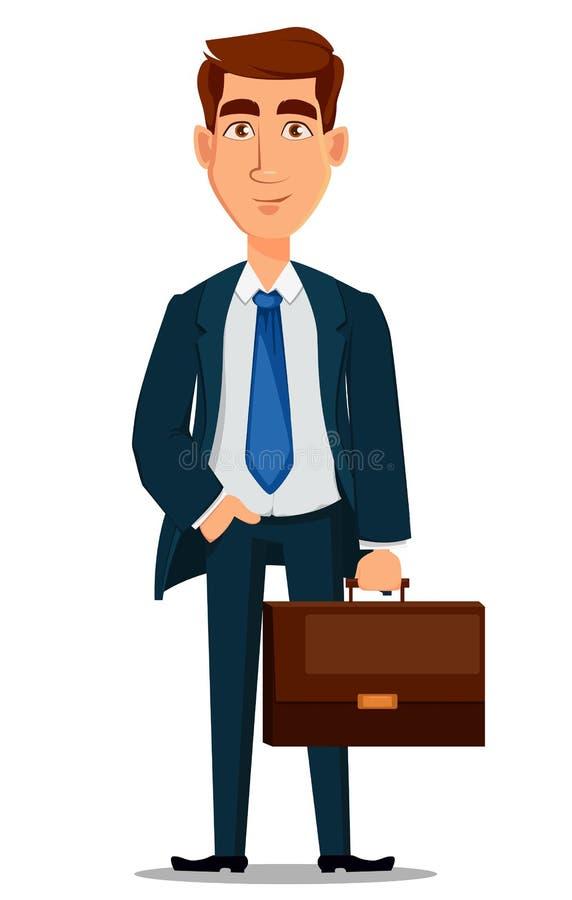 Homme d'affaires dans le costume formel tenant la serviette, personnage de dessin animé illustration stock