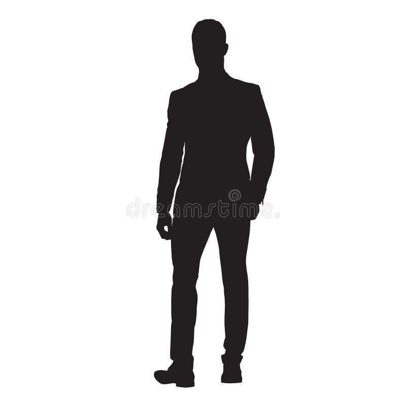 Homme d'affaires dans le costume marchant en avant, silhouette d'isolement de vecteur illustration de vecteur