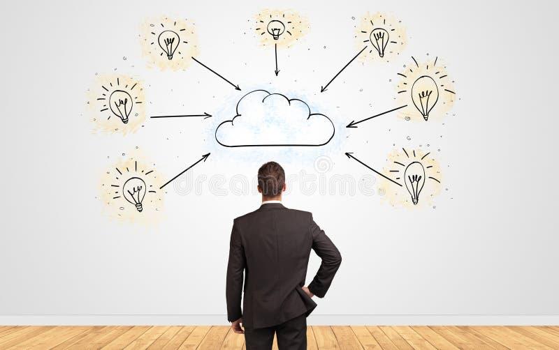Homme d'affaires dans le doute regardant à un mur avec le concept en ligne de supervision des travaux images stock