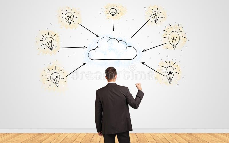 Homme d'affaires dans le doute regardant ? un mur avec le concept en ligne de supervision des travaux photos libres de droits