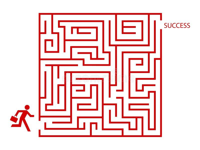Homme d'affaires dans le labyrinthe illustration stock