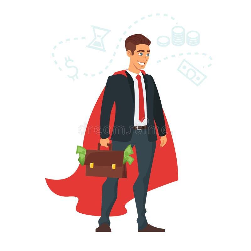 Homme d'affaires dans le manteau rouge illustration de vecteur