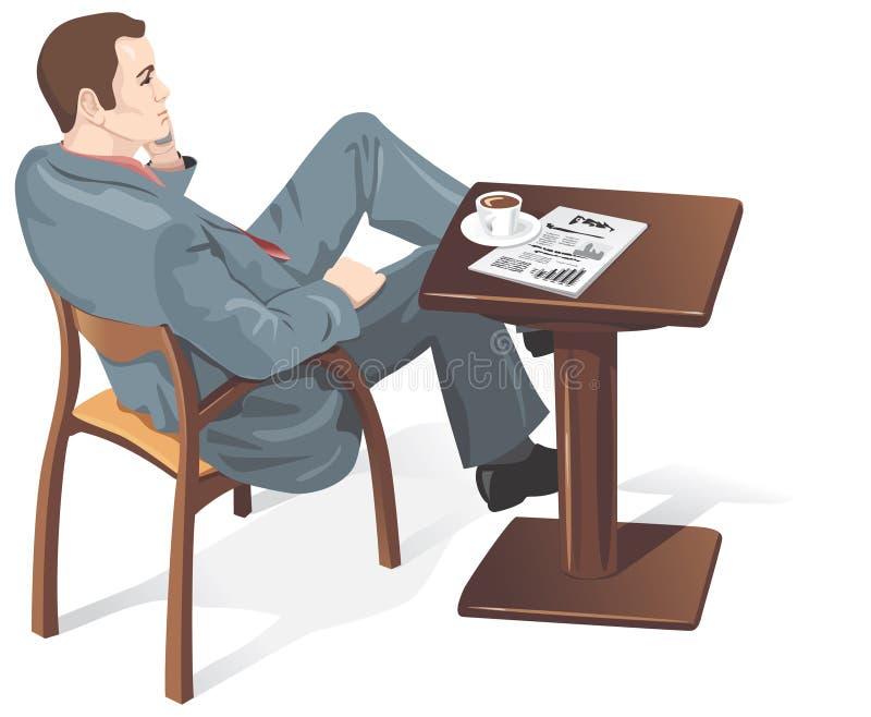 Homme d'affaires dans un café, vecteur illustration libre de droits