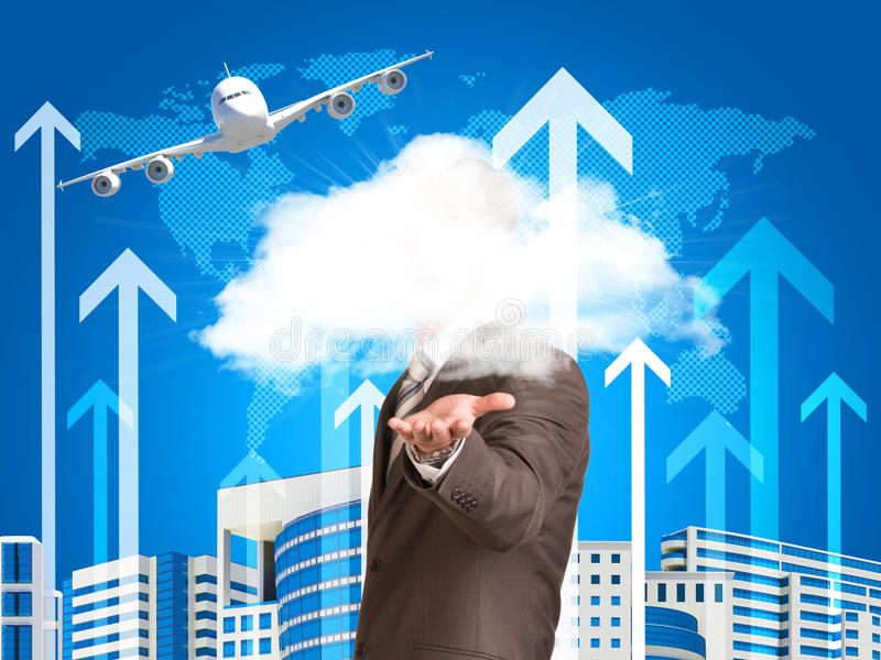 Homme d'affaires dans un nuage de prise de costume illustration libre de droits