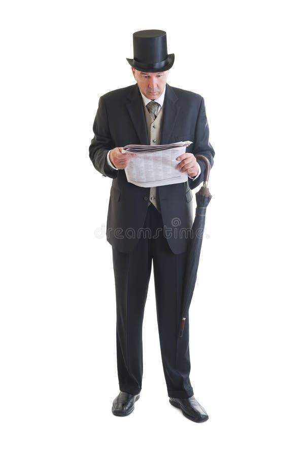 Homme d'affaires dans un rétro costume photo stock