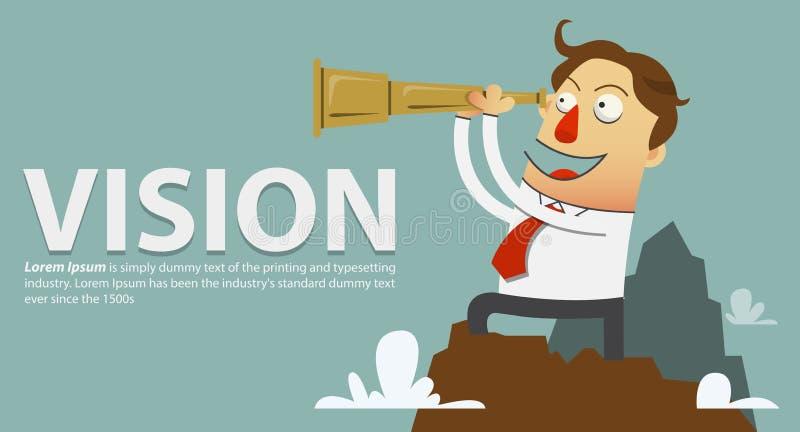 Homme d'affaires dans une chemise blanche et un lien rouge se tenant sur la montagne et regards par un télescope Dessin animé de  illustration libre de droits