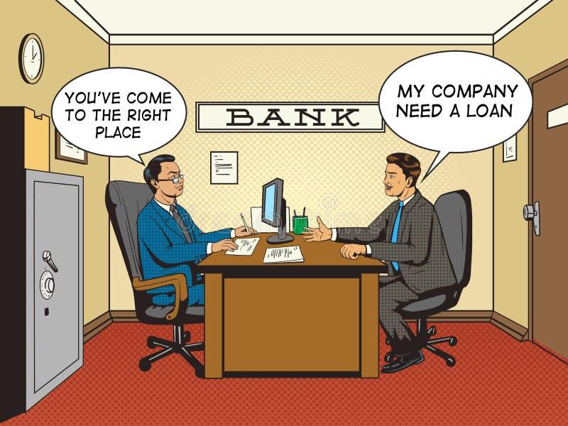Homme d'affaires dans vecteur de style d'art de bruit de banque le rétro illustration stock
