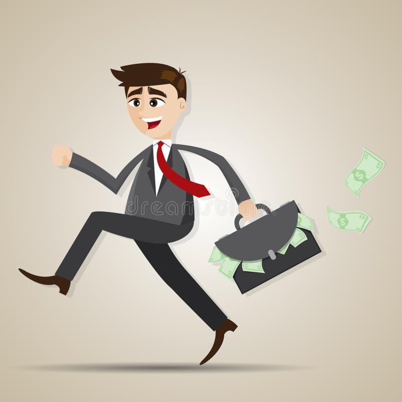 Homme d'affaires de bande dessinée courant avec le sac plein de l'argent illustration libre de droits