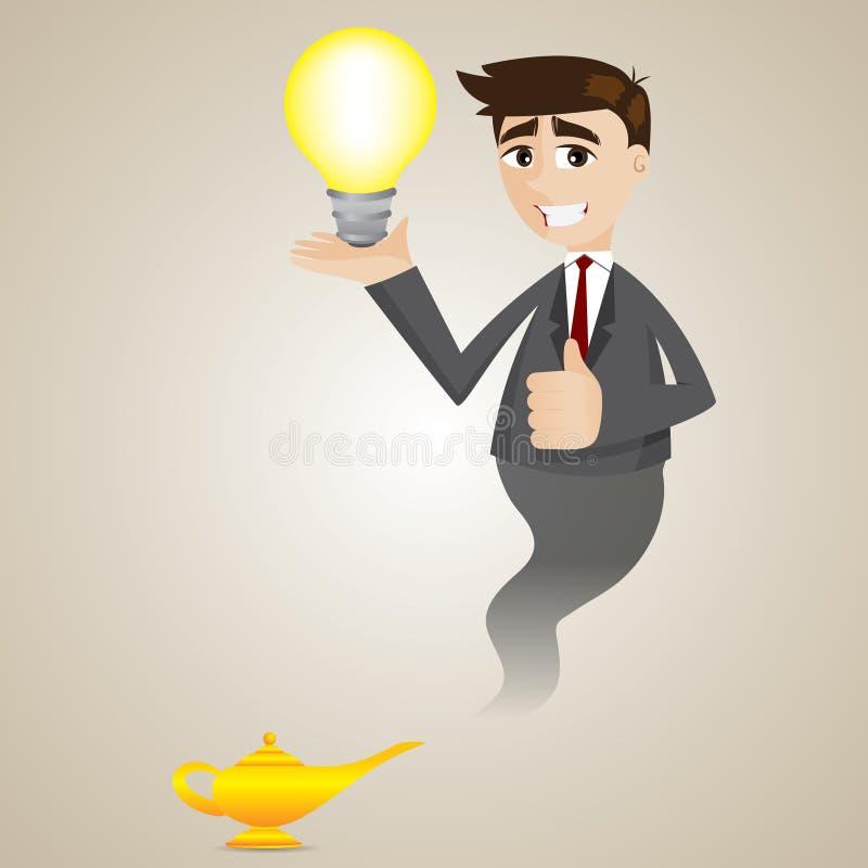 Homme d'affaires de bande dessinée de la lampe magique montrant l'ampoule d'idée illustration libre de droits