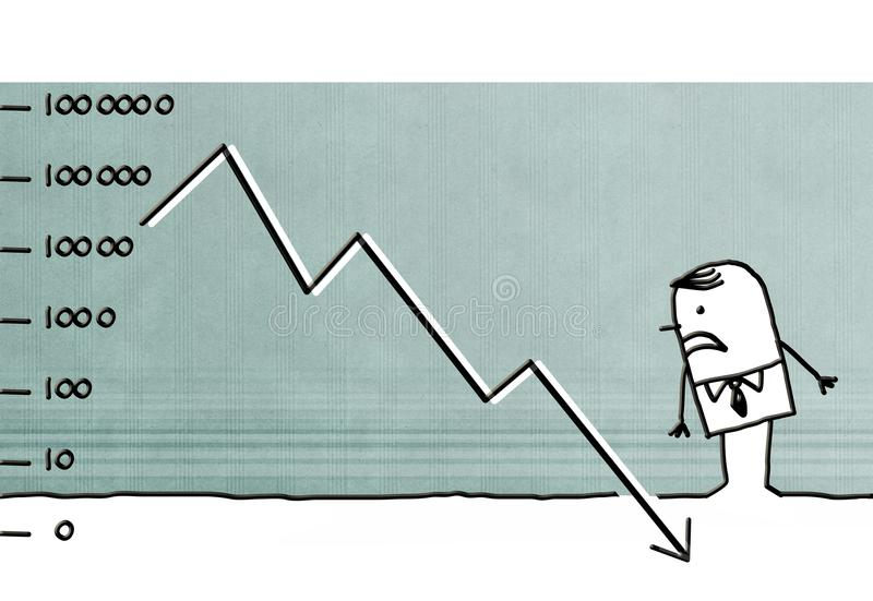 Homme d'affaires de bande dessinée desserrant l'argent illustration de vecteur
