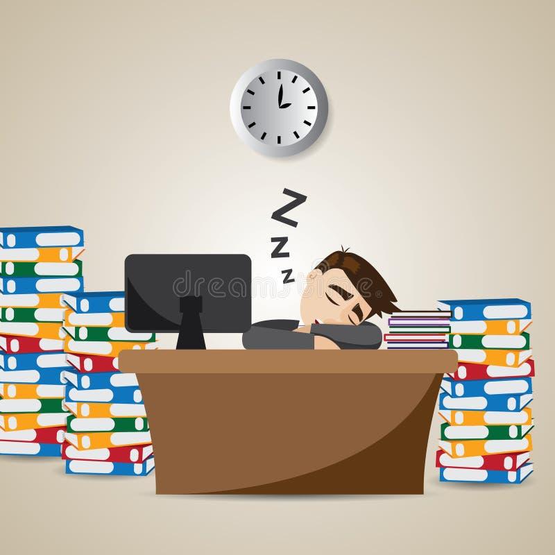 Homme d'affaires de bande dessinée dormant au temps de travail illustration de vecteur