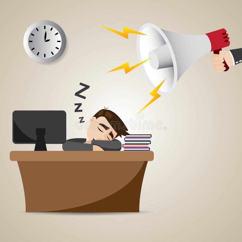 Homme d'affaires de bande dessinée dormant au temps de travail avec le mégaphone illustration stock
