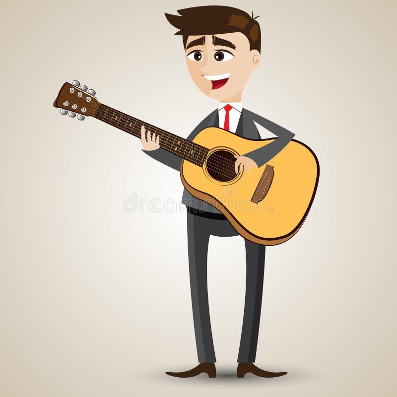 Homme d'affaires de bande dessinée jouant la guitare acoustique illustration libre de droits
