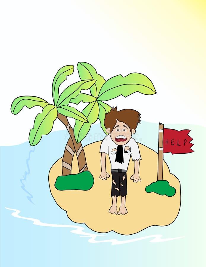 Homme d'affaires de bande dessinée perdu en île illustration de vecteur
