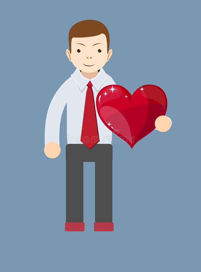 Homme d'affaires de bande dessinée souriant et tenant un grand coeur rouge illustration stock
