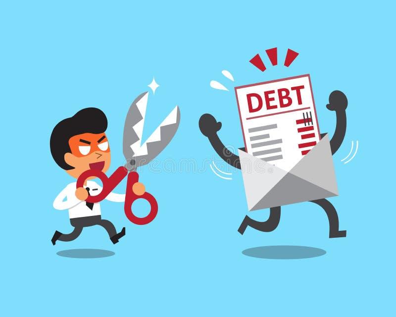 Homme d'affaires de bande dessinée tenant des ciseaux pour couper la lettre de dette illustration de vecteur