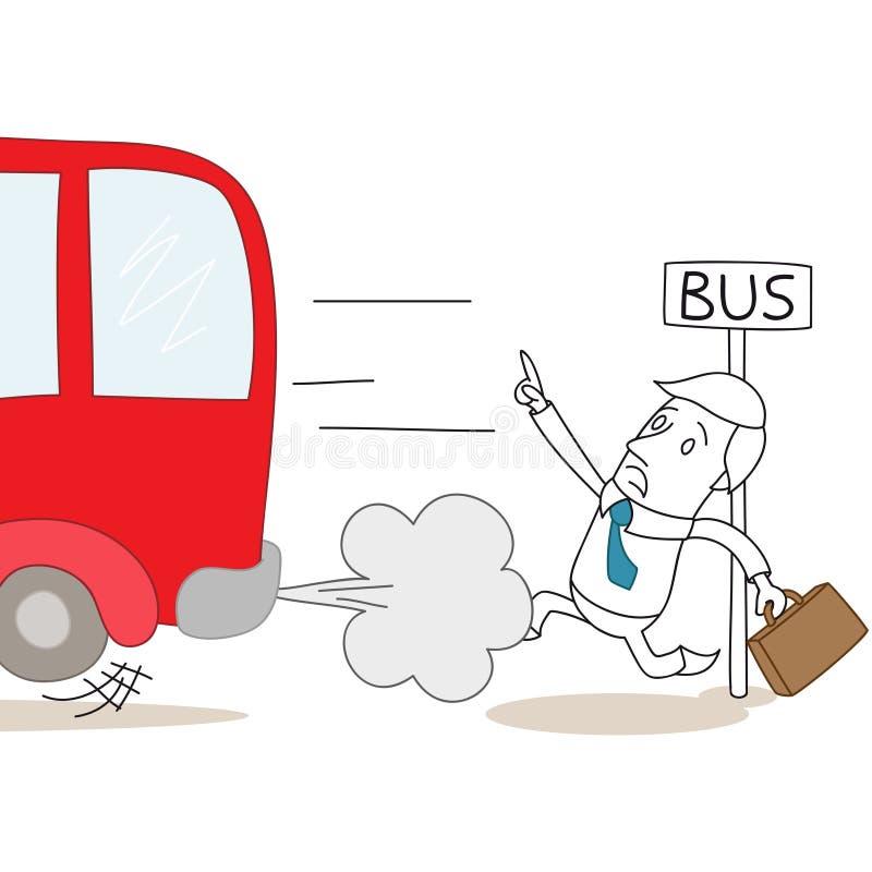 Homme d'affaires de bande dessinée trop tard à l'arrêt d'autobus illustration libre de droits