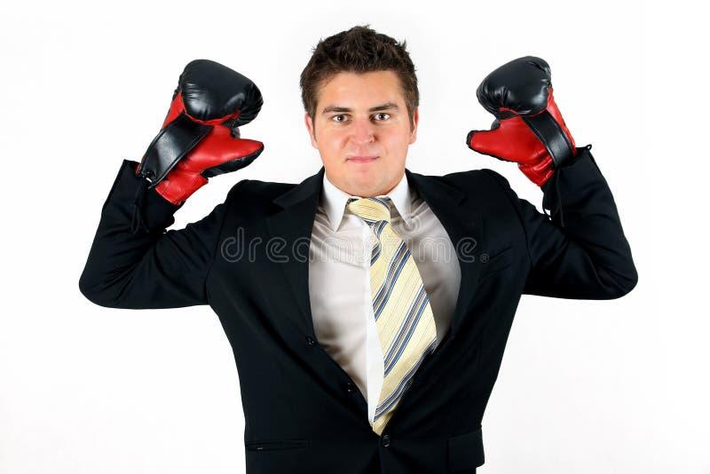 Homme d'affaires de boxe image stock