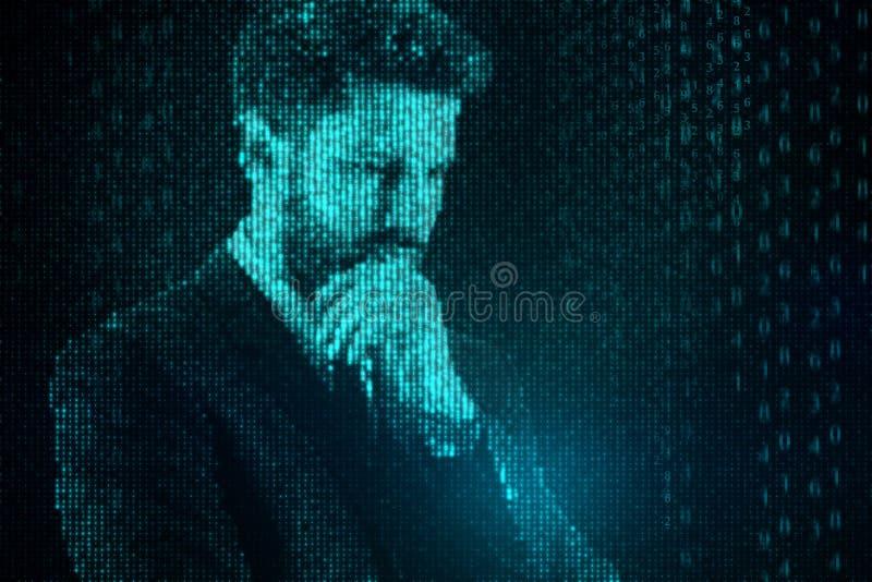 Homme d'affaires de code binaire illustration libre de droits