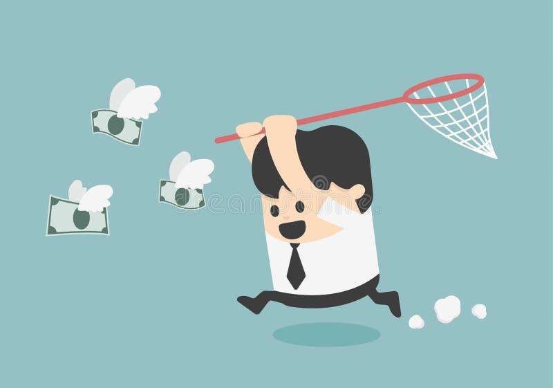 Homme d'affaires de concept essayant d'attraper la mouche d'argent illustration de vecteur