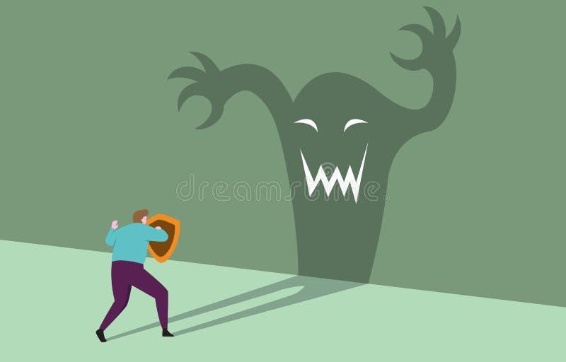 Homme d'affaires de courage avec la menace de parement sûre prête d'affaires d'ombre de monstre de bouclier illustration de vecteur