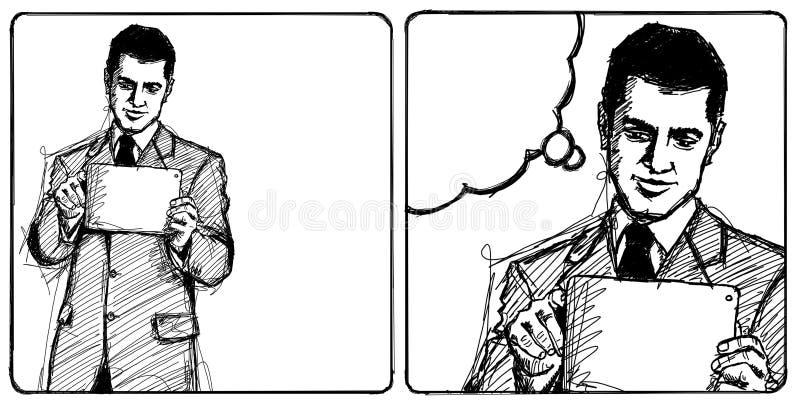 Homme d'affaires de croquis avec la garniture d'I illustration libre de droits